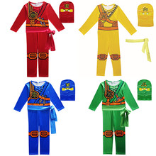 Kid Ninjago Kostuums Ninja Cosplay Jongens Anime Kleding Kinderen Halloween Christmas Party Purim Superhero Jumpsuit Kostuum(China)
