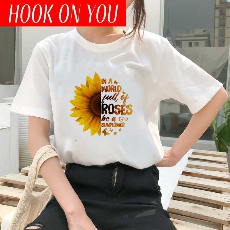 Showtly  Graphic Tees Women Sunflower Print Short Sleeve T-Shirt Fashion Casual O-Neck Tops Plus Size korean style T-shirt