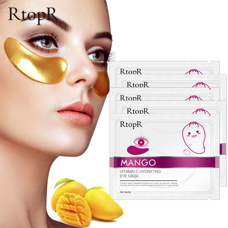 5packs Mango Vitamin C Hydrating Anti-Aging Eye Mask Skin Serum Gold Eye Patches Care Remove Wrinkle Dark Circle Puffiness
