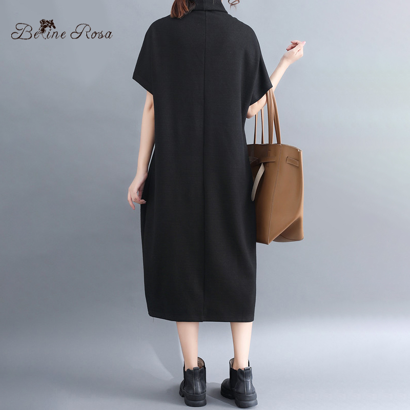 BelineRosa Casual Autumn Winter Dress Ladies Embroidery Flower Pocket Turtleneck Collar Women Dresses M L XL XXL YPYC0020 in Dresses from Women 39 s Clothing
