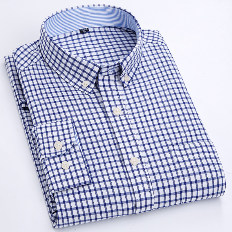 Men's Casual Plaid Checkered Long-Sleeve Oxford Shirt Single Patch Pocket Comfortable Standard-fit Button-Down Gingham Shirts