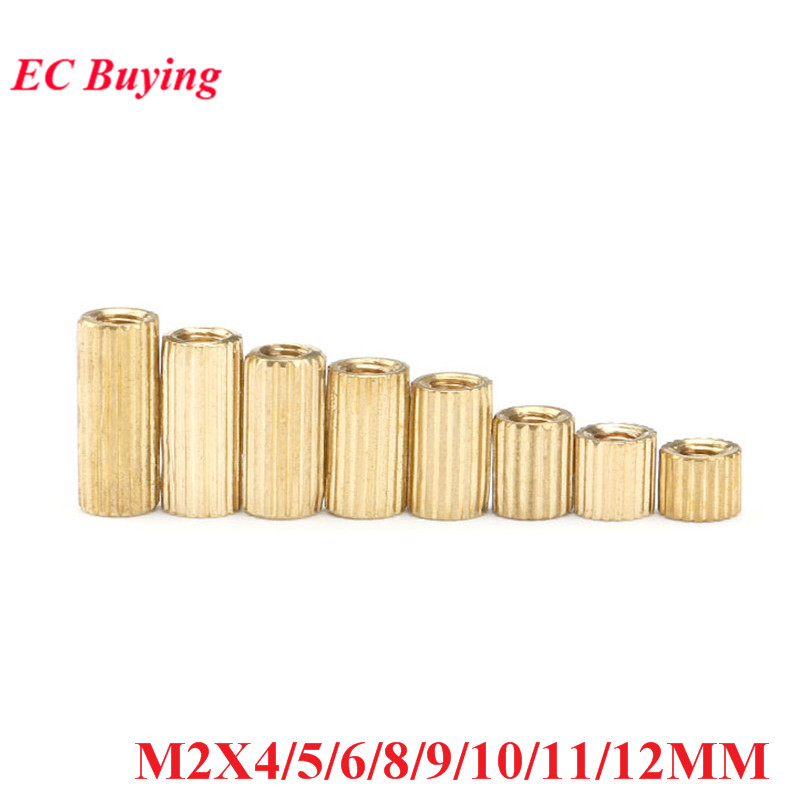 50pcs M2X4/5/6/8/9/10/11/12 mm Brass Round Standoff Spacer Female M2 Brass Threaded Spacer Double Pass M2*4/5/6/8/9/10/11/12 mm