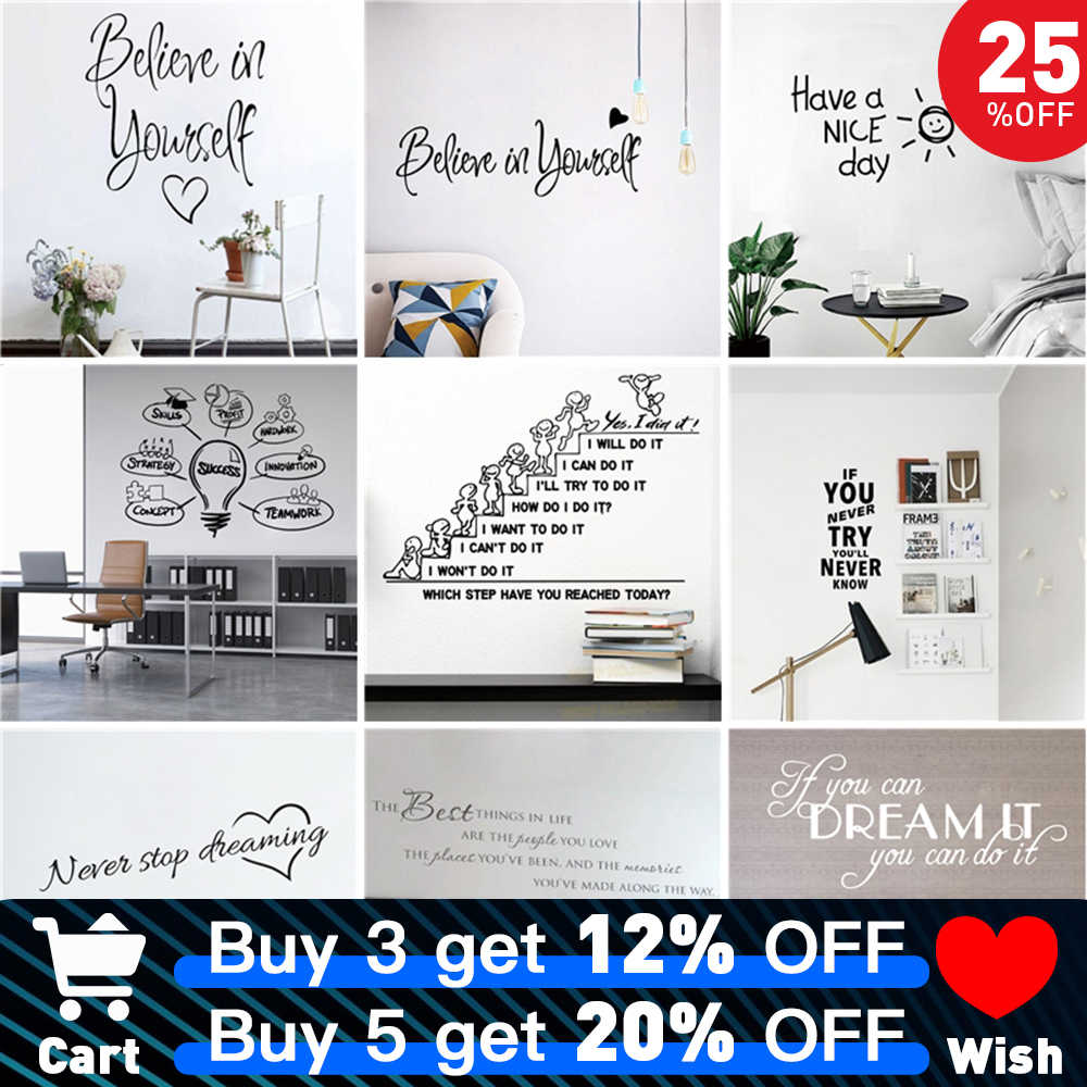 Motivatie Groot Kantoor Quotes Zin Vinyl Muursticker Decals Voor Woonkamer Slaapkamer Classroom Office Behang Decoratie