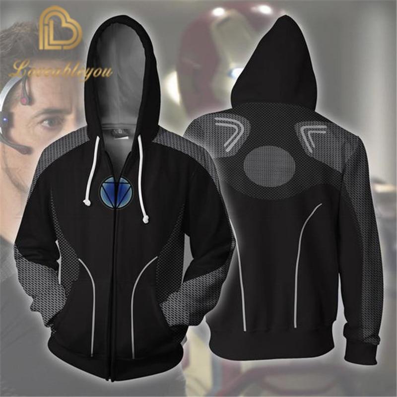 Men And Women Zip Up Hoodies The Avengers 4 Hooded Jacket Iron Man Superheroes Sweatshirt Streetwear Tony Stark Cosplay Costume