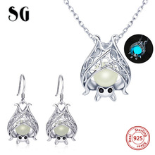 100% 925 Sterling Silver Lovely Bat Glowing Women Jewelry Set Necklace Earrings Jewelry Sets Sterling Silver Jewelry Gift