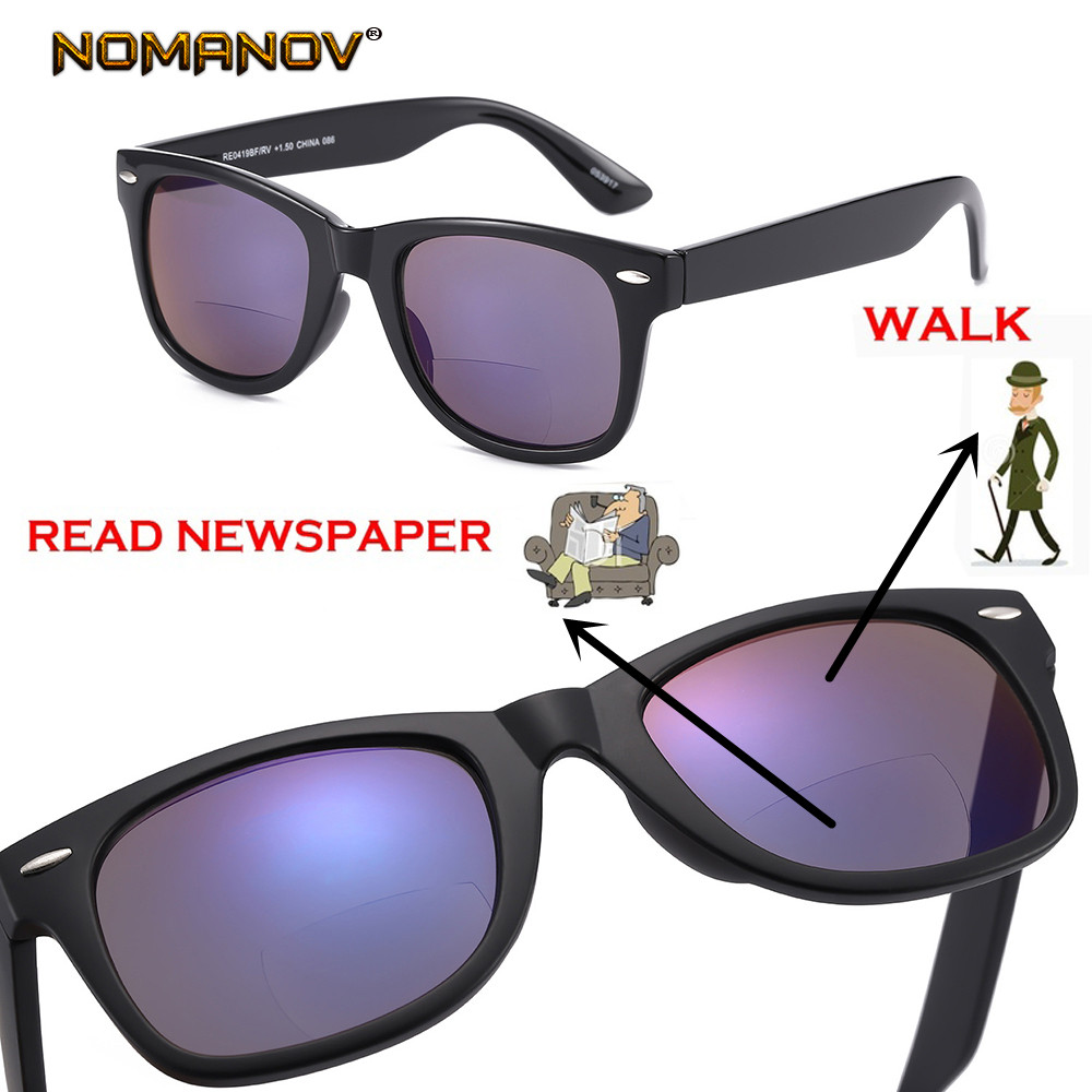 NOMANOV Classic Retro Bifocal Lenses Reading Sunglasses See Near Far Reading Glasses +0.75 +1.5 +1.75 +2 +2.25 +2.5 +2.75 To+3.5