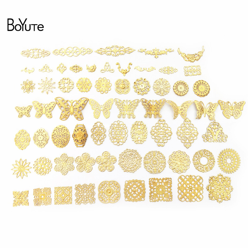 BoYuTe Filigree Mix Styles Metal Brass Stamping Butterfly Flower Filigree Findings DIY Hand Made Jewelry Accessories(China)