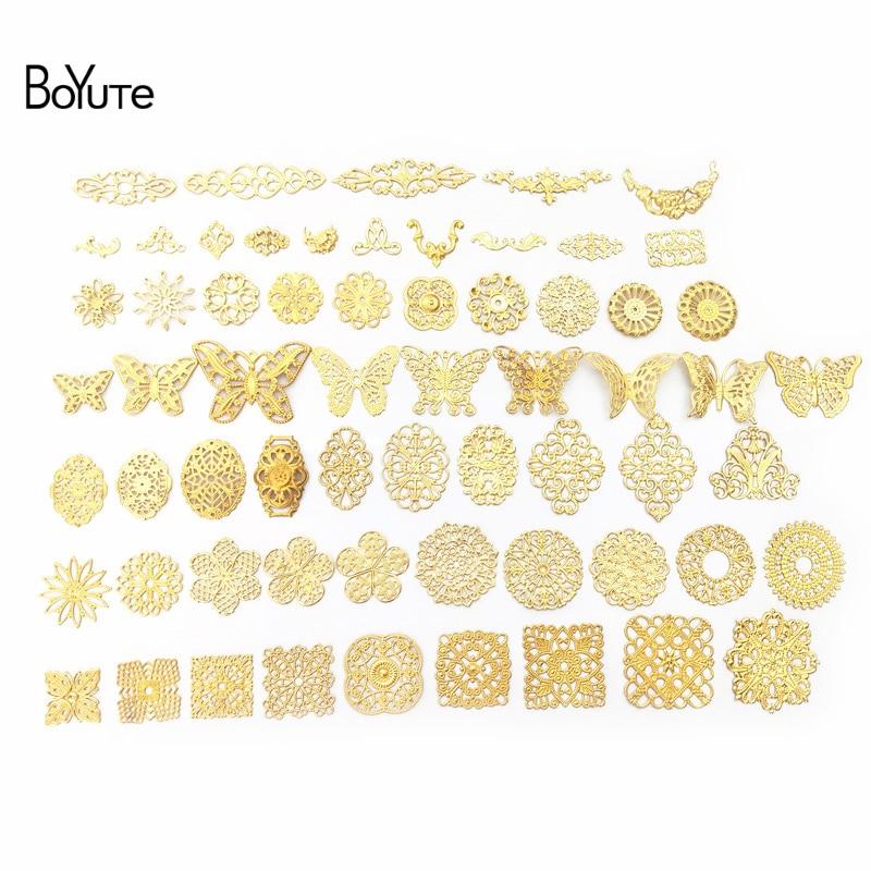 Boyute filigrana mix estilos metal latão carimbando borboleta flor filigrana descobertas diy feito à mão jóias acessórios