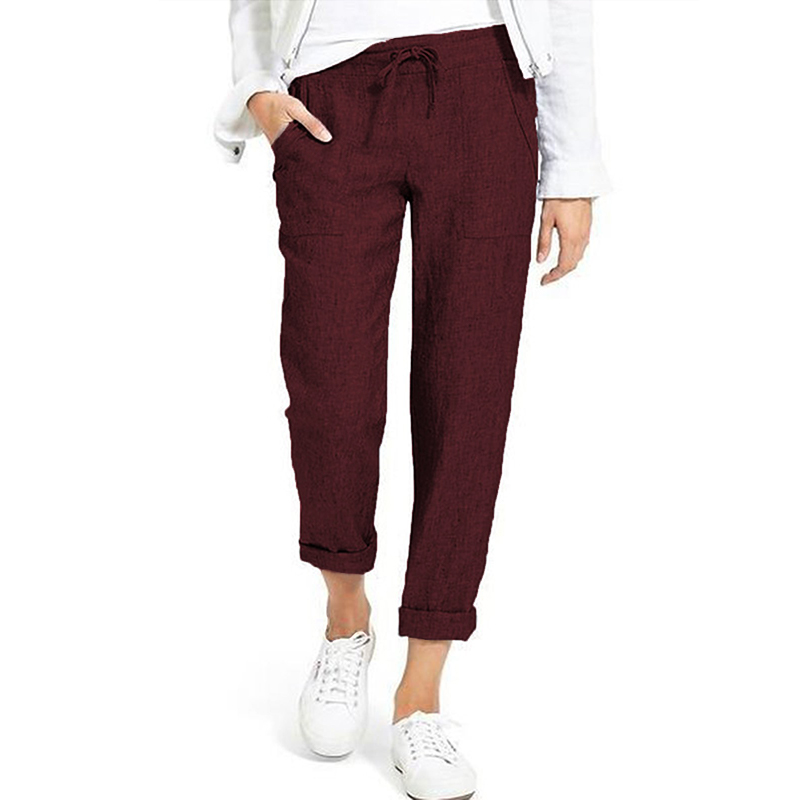 Summer Drawstring Cargo Pants Women's Autumn Trousers 19 ZANZEA Vintage Elastic Waist Pantalon Woman Palazzo Oversized Pant 8