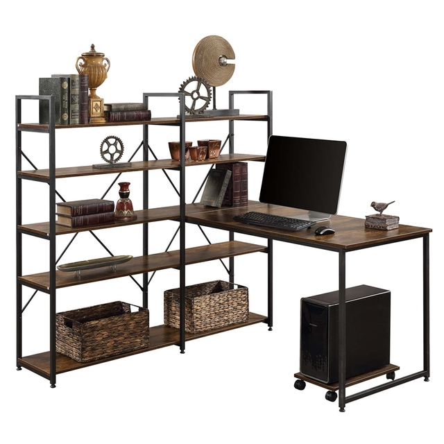 """Home Office 54"""" Large Computer Desk with 5-tier Shelves 4"""
