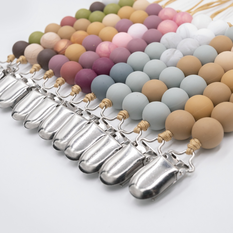 Baby Universal Holder Pacifiers Leashes Nipples Clip Chain Infant Child Soother Beaded Wooden Chains Teethers For Newborn