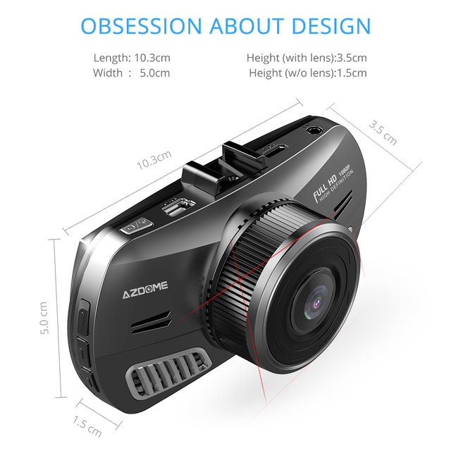 AZDOME M11 3 inch 2.5D IPS Screen Mini  Dash Cam  Full HD1080P Car DVR Car Video Recorder Night Vision car camera dashcam 4