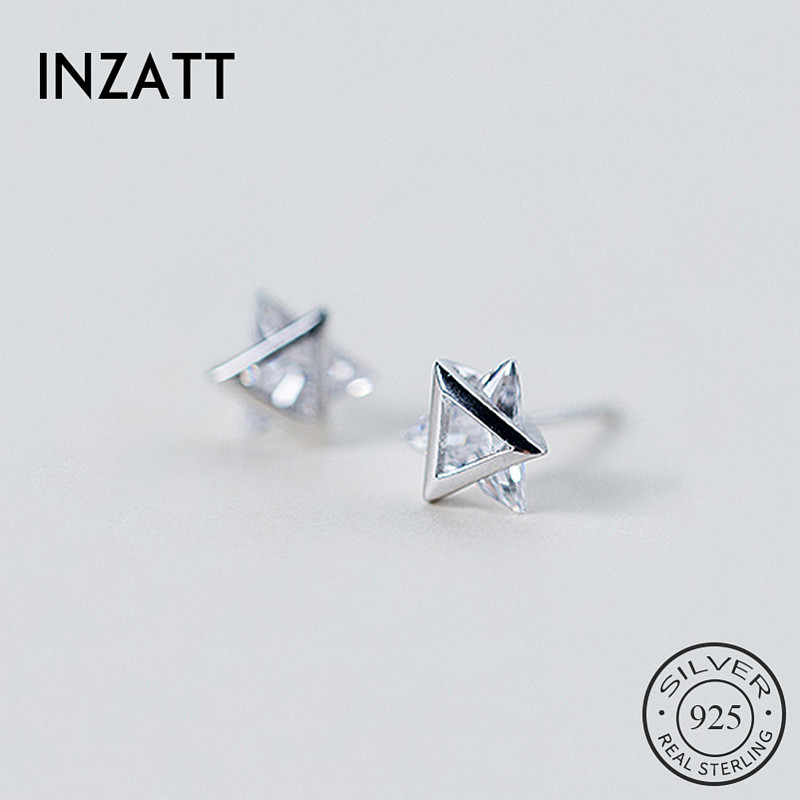 INZATT Real 925 Sterling Silver Zircon Triangle Stud Earrings For Fashion Women Minimalist Fine Jewelry ins Hot Accessories