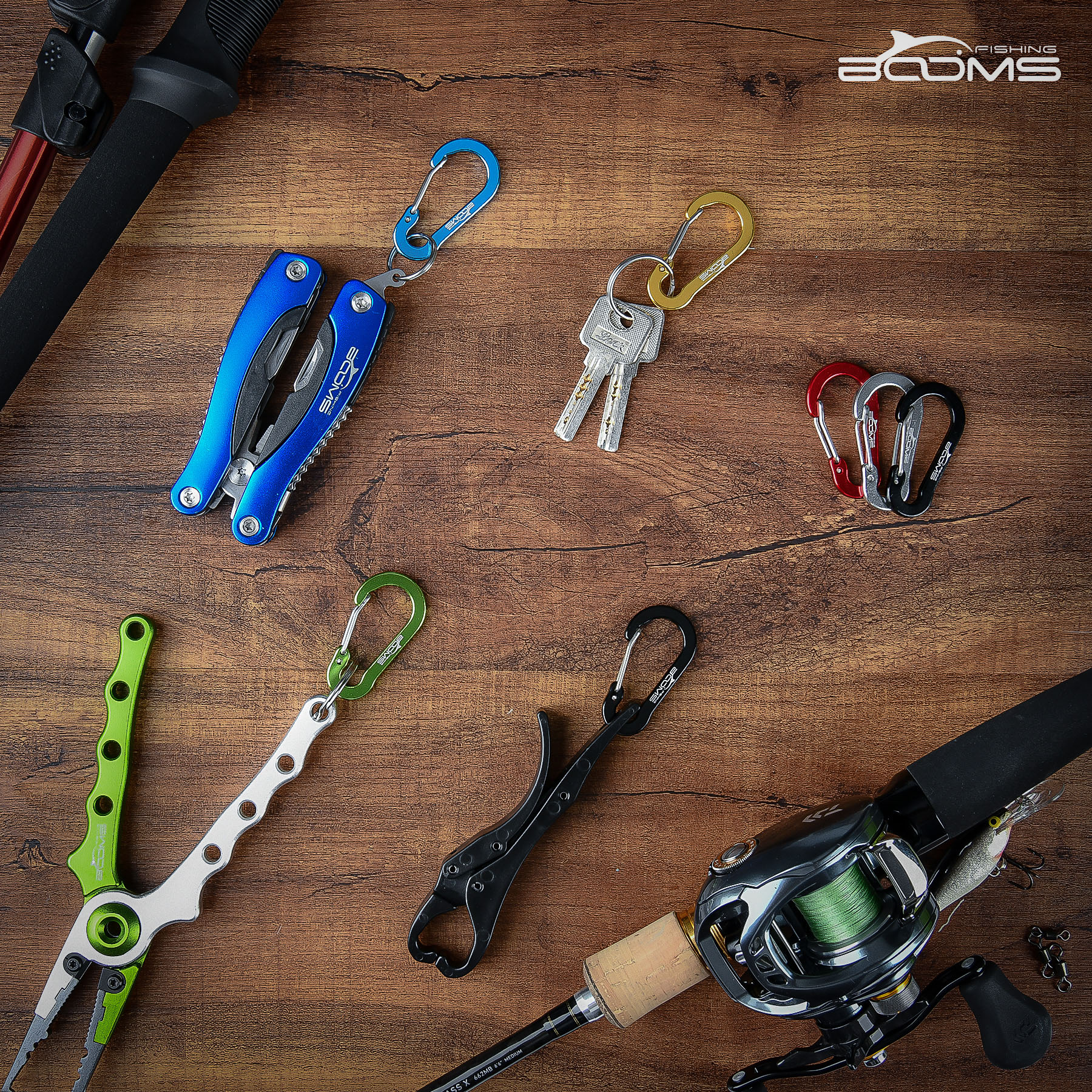 Booms Fishing CC1 petits mousquetons en acier, Camping en plein air, multi-outils, accessoires de pêche, 6 pièces 6