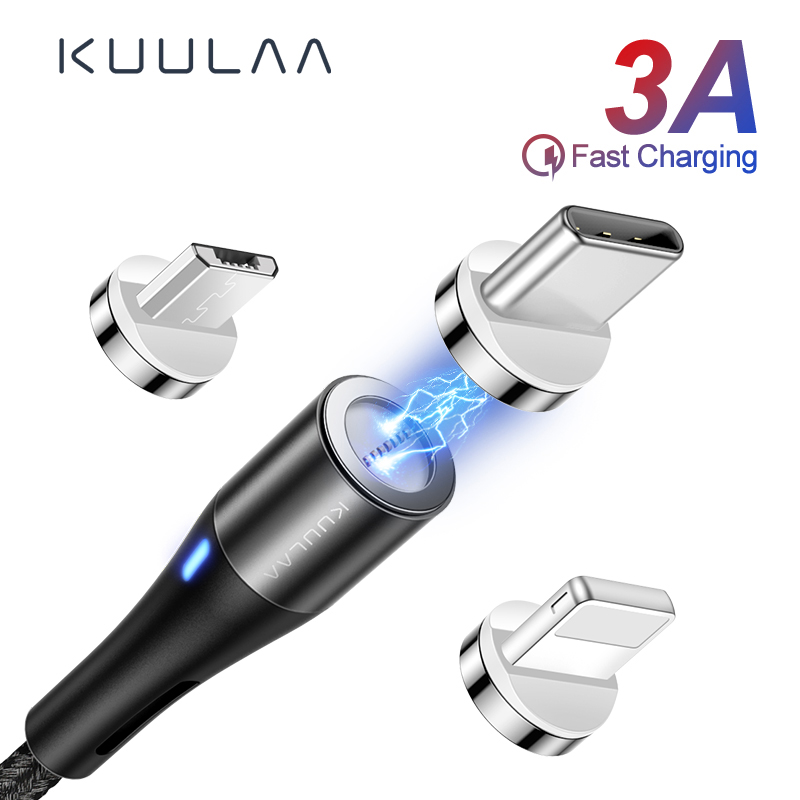 US $1.29 35% OFF|KUULAA Magnetic Cable Micro USB C 3A Quick Charge Adapter For iPhone Samsung XiaoMi Charger Magnet Fast Charging USB Type C