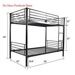 Двухъярусная железная рама с лестницей для детей 198x107x165 см, черная Высококачественная кровать, подходит для спальни, размер 2-7