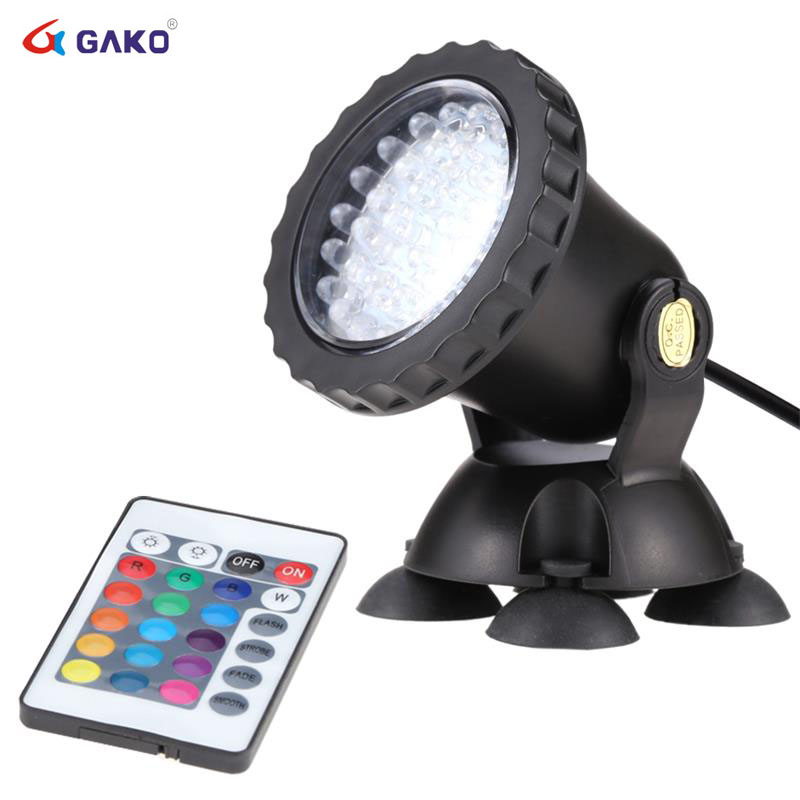 1Pc 3 5W Remote Control Colourful Aquarium LED Light Waterproof Spot Lamp for Fish Tank Pond Garden Decoration in Lightings from Home Garden