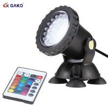 Gako بقعة ضوء مع RGB التحكم عن بعد حوض السمك مصباح ليد مصباح التوقف مقاوم للماء للأسماك بركة حديقة الديكور