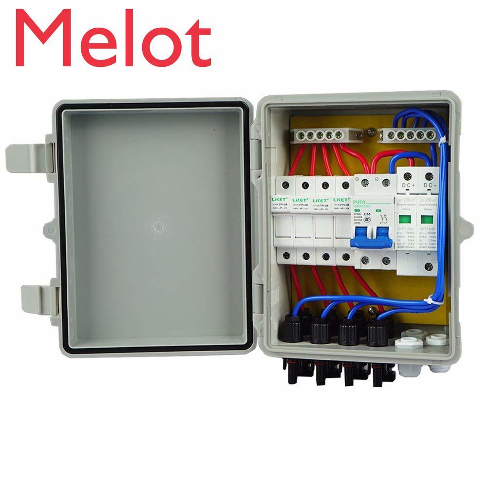 4 струнные PV солнечные комбинированные коробки 10А выключатели Защита от перенапряжения Молния