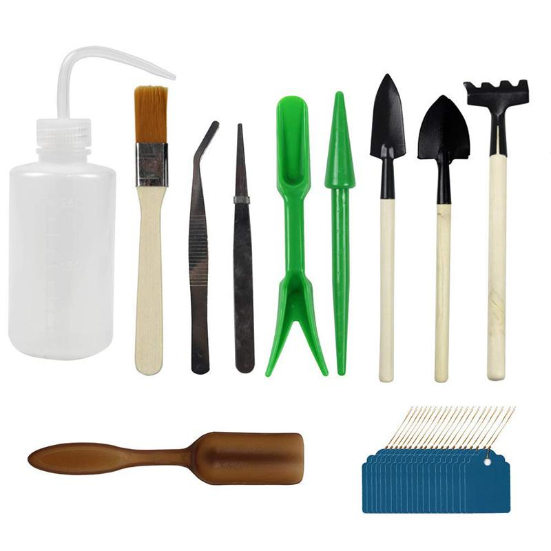10pcs Miniature Gardening Hand Tools Set Succulent Transplanting Fairy Garden Planting Tool, With 20 Plant Labels As Gift