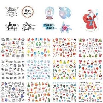 12 Designs Santas Snowmen Trees Snowflakes Xmas Nail Art Stickers Christmas Letters deer Pattern diy nail Decals 2019 Fashion christmas santa deer pattern decorative stair decals 6pcs