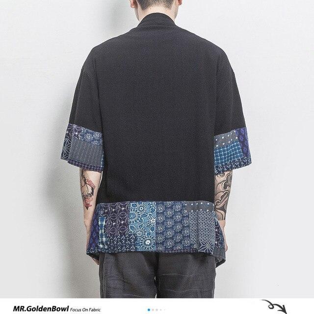 MrGoldenBowl Store koszula z mieszanki bawełny i lnu kurtki mężczyźni chiński Streetwear Kimono bluzka mężczyźni lniane kardigany płaszcz Plus rozmiar