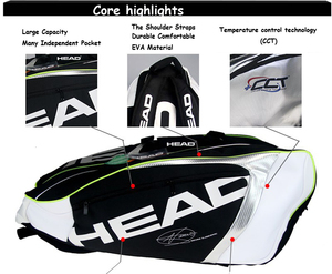 Image 2 - Sac de Tennis tête Djokovic sac de raquette de Tennis Badminton Padel sac de raquette de Tennis pour 9 raquette Tenis Raquete paquet Tenis Bolsa