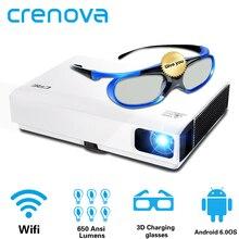CRENOVA 2019 Proyector láser más nuevo para Full HD 1080P Cine en Casa película proyector Android DLP HD 720P WIFI Bluetooth Beamer