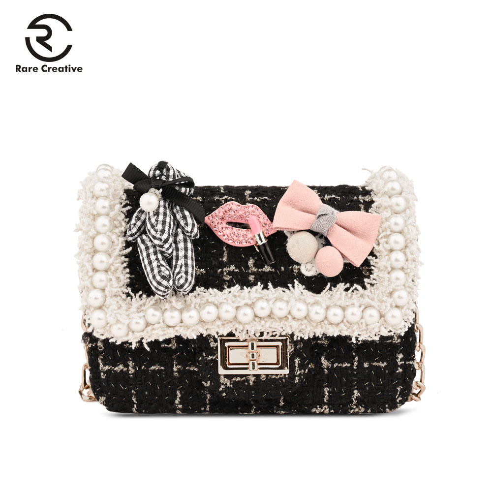 RARE CREATIVE 2019 Casual Cute Mini Shoulder Bag Lovely Pearl Bow Phone Bag Crossbody Bag For Teenager Girls Party Purses HS8004