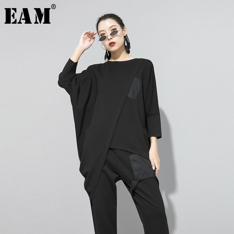 [EAM] Women Asymmetrical Stitch Oversized BlackT-shirt New Round Neck Long Sleeve  Fashion Tide  Spring Autumn 2020 1S184