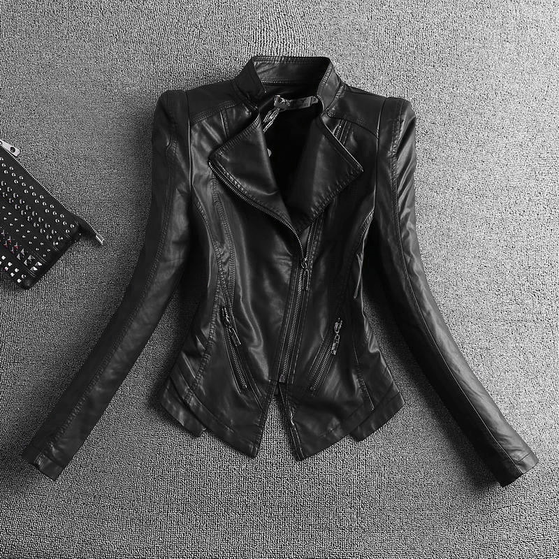 Где купить Новинка 2020, модная черная мотоциклетная кожаная куртка, Женская Байкерская кожаная куртка на молнии размера плюс S-4XL, облегающая женская верхняя одежда