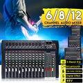 Professional audio mixer mixing console dj Studio 6/8/12 canais 8 4 mono stereo mixer de áudio de áudio interface USB bluebooth