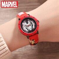 Marvel Avemgers demir erkekler kırmızı erkek kuvars su geçirmez saatler çocuk yuvarlak moda spor saatler Disney lüks hediyelik saat çocuk zaman|Çocuk Saatleri|   -