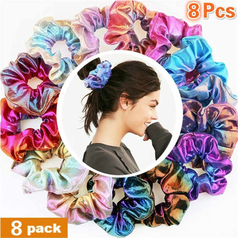6/8Pcs Fashion Set Glitter Scrunchie Colorful Elastic Bronzing Hair Rope Glitter Ponytail Holder Scrunchie Pack Hair Accessories