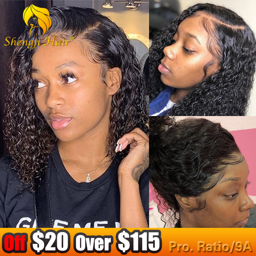 Full Lace Human Hair Wigs Pre Plucked With Baby Hair Curly 13x6 Lace Short Bob Wigs For Black Women SHENGJI Brazilian Remy Hair