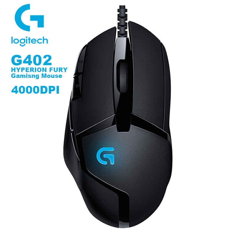 Logitech G402 Hyperion Fury FPS Gaming Mouse with 4000DPI High Speed Fusion Engine 32-BIT ARM Processor Support Windows 10 8 7 image
