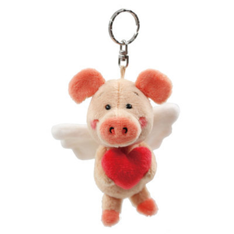 Pig weibi <font><b>plush</b></font> <font><b>toy</b></font> pendant stainless steel hole <font><b>key</b></font> ring steel round <font><b>key</b></font> <font><b>chain</b></font> split cute keychain love lady backpack bag gift image