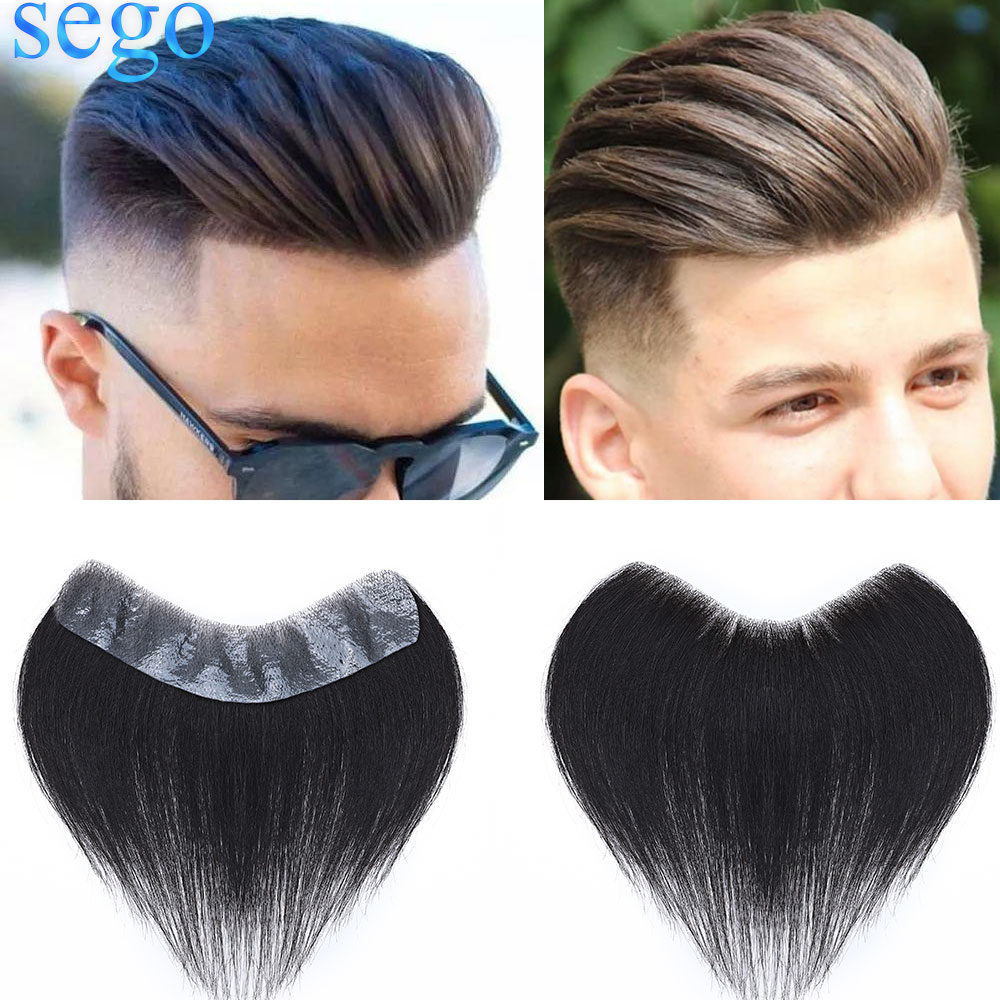 SEGO 4x18CM Thin Skin PU V Loop Men Hairpiece Indian Human Remy Hair Replacement Handmade Real Hair pieces Length 15cm