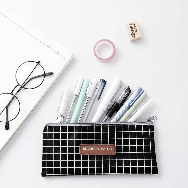 Canvas Etui Voor School Leuke Eenvoudige Gestreepte Rooster Pencilcase Pen Zak Doos Briefpapier Pouch Schoolbenodigdheden