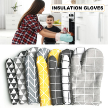 Cotton and Linen Oven Mitts Gloves Heat Resistant Non-Slip for Kitchen Cooking Baking QJS Shop