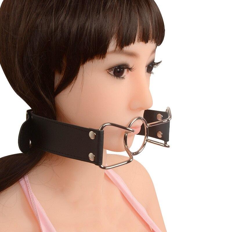 Women sex toys BDSM Bondage Gear Interesting steel ring collar mouth plug in Bondage Gear from Beauty Health
