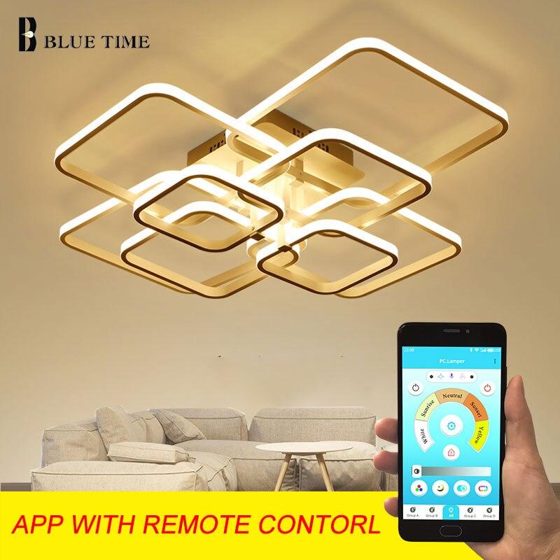 ใหม่โมเดิร์นโคมไฟระย้า LED โคมไฟสแควร์สำหรับห้องนั่งเล่นสีขาวและสีดำ LED Home Lighting โคมไฟเพดานโคมไ...
