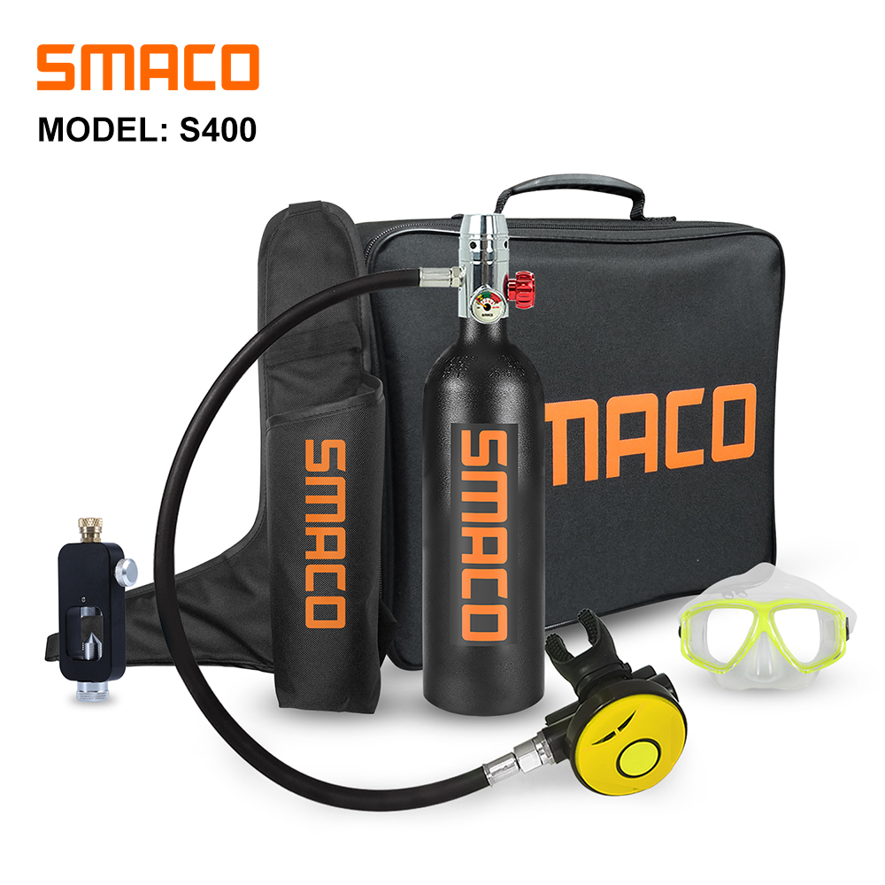 Smaco Scuba Diving Tank Equipment Mini Scuba Dive Cylinder Oxygen Tankbox SnorkelSet 1 L Underwater Breath 15 Minutes S400