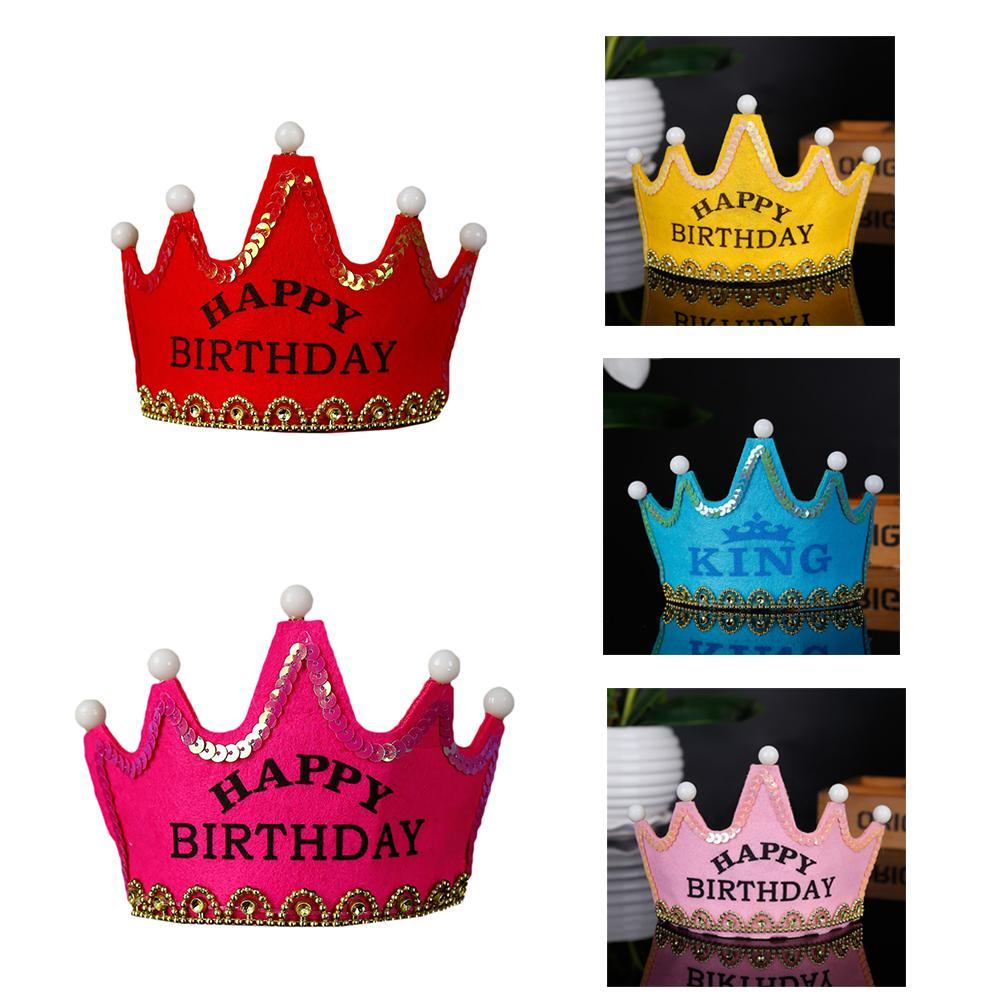Children Birthday Party Decorating Crowns Hat With LED Lights Universal For Adult And Children