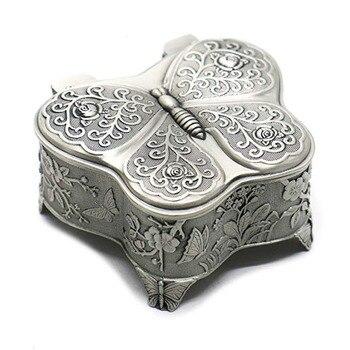 Retro Metal Rose Engraving Butterfly Jewelry Box Trinket Jewelry Storage Keepsake Box for Women