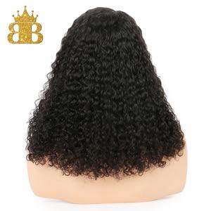 Image 5 - 13x4 תחרה מול שיער טבעי פאות ברזילאי שיער עמוק קרלי Glueless קצר בוב תחרת פאה עם תינוק שיער רמי שיער מראש קטף ביב