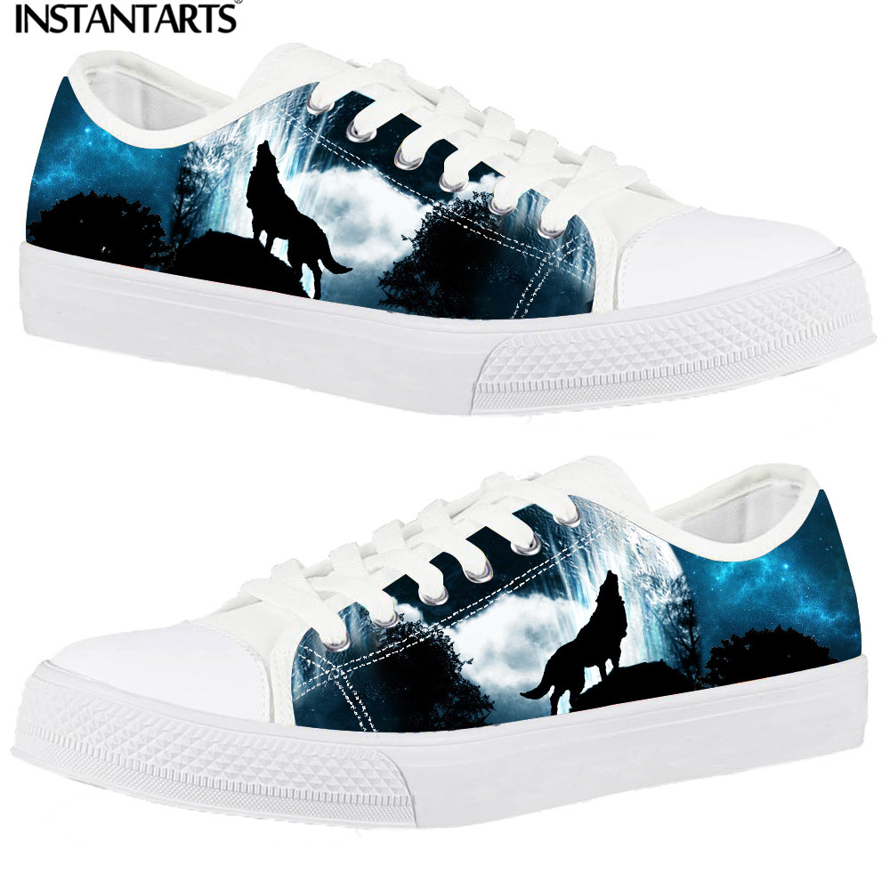 INSTANTARTS Men's Galaxy Sneakers 3D Moon Wolf Star Casual Canvas Shoes for Gift Student Boy Low Top Vulcanize Zapatillas Male