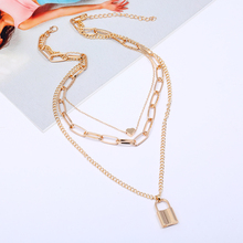ZOSHI Multi Layers Love Heart Pendant Choker Necklace for Women Steampunk Padlock Chains Necklace Collier Party Jewelry