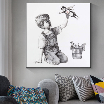 Banksy Shows Nurses As Superheroes Painting Printed on Canvas 1