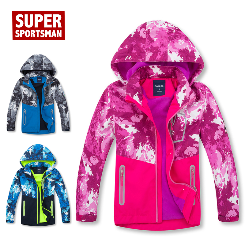 Autumn Winter Children Waterproof Fleece Jackets Kids Hiking Coat Windbreaker Softshell Toddler Girl Boy Camping Outdoor Clothes
